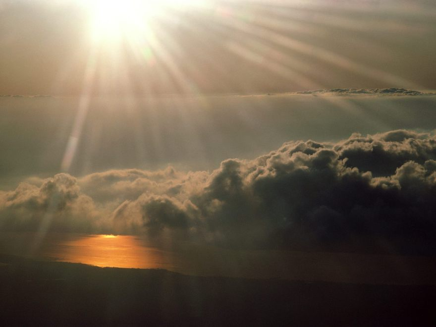 heavens open light sky clouds