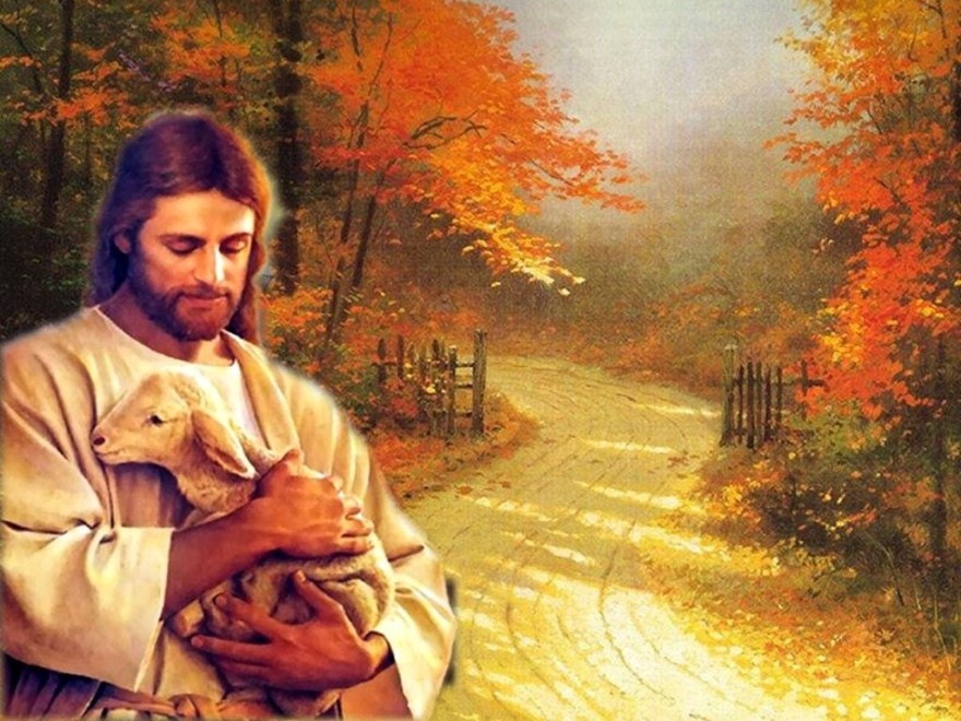 Jesus holding lamb at gate on path to heaven