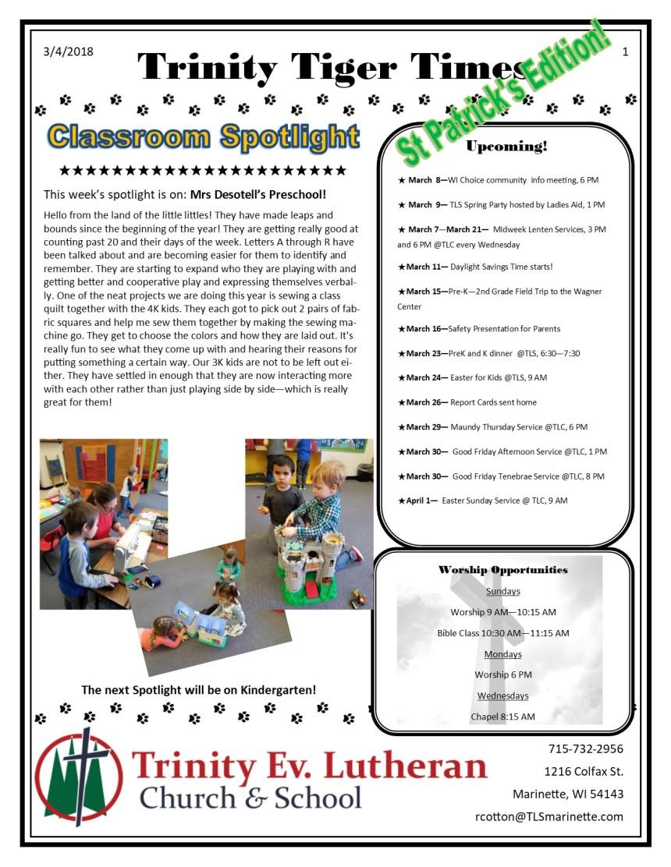 St PatricksMarch5Newsletter pg 1